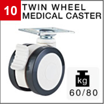 Two wheel medical caster